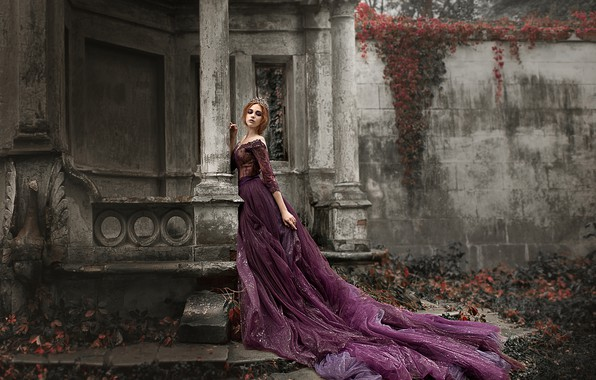 Picture girl, pose, style, dress, columns, Damien Prokhorov