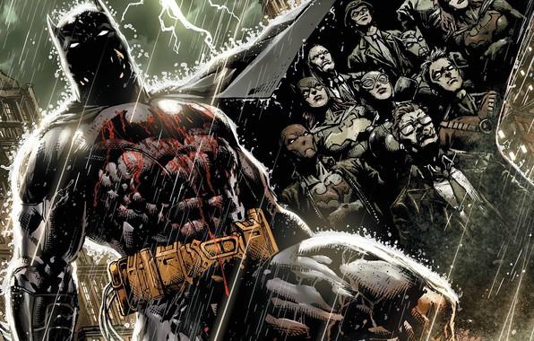 Picture Lightning, Rain, Blood, Batman, Costume, The storm, Belt, Hero, Mask, Comic, Catwoman, Cloak, Superhero, Hero, …