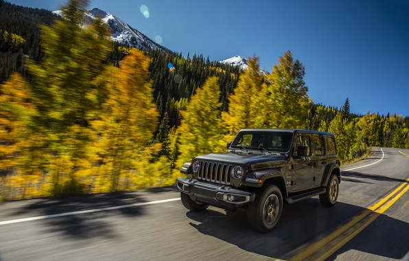 Picture road, forest, the sky, trees, mountains, movement, markup, roadside, 2018, Jeep, dark gray, Wrangler Sahara