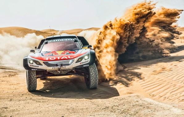 Picture Sand, Auto, Sport, Machine, Speed, Race, Peugeot, Lights, Red Bull, Rally, Dakar, Dakar, Rally, Sport, ...