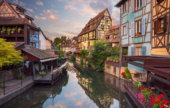 Picture flowers, reflection, France, home, channel, Colmar