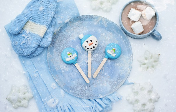 Picture winter, snow, snowflakes, scarf, Cup, drink, mittens, hot chocolate, marshmallows, marshmallows
