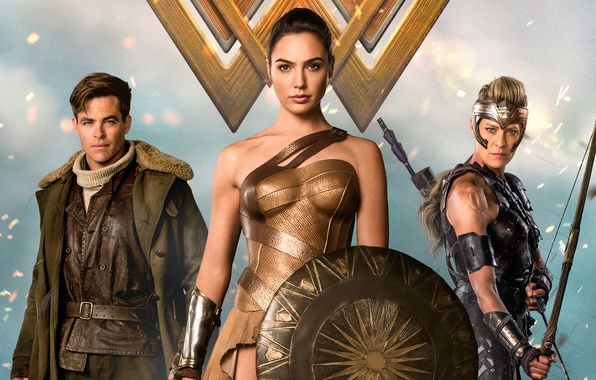 Picture cinema, Wonder Woman, armor, movie, brunette, blonde, film, bow, Chris Pine, warrior, DC Comics, Diana, …