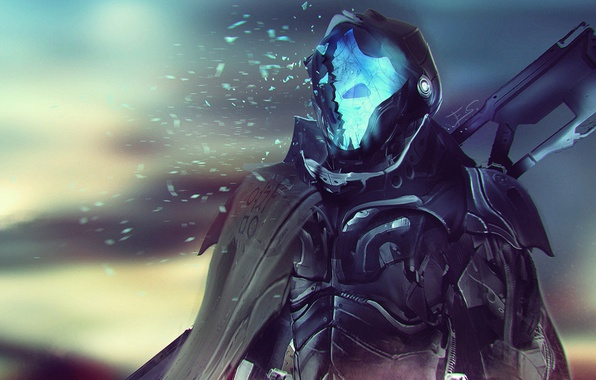 Picture death, weapons, fiction, soldiers, armor, cyborg, cloak, cyberpunk