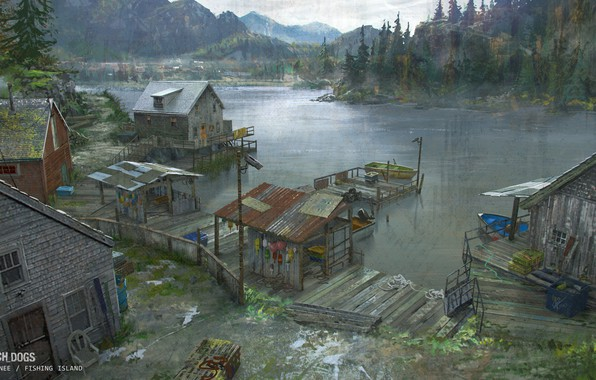 Picture forest, mountains, pond, Watch Dogs - environments, fishing island