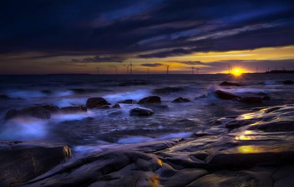 Picture sea, sunset, night, shore, windmills