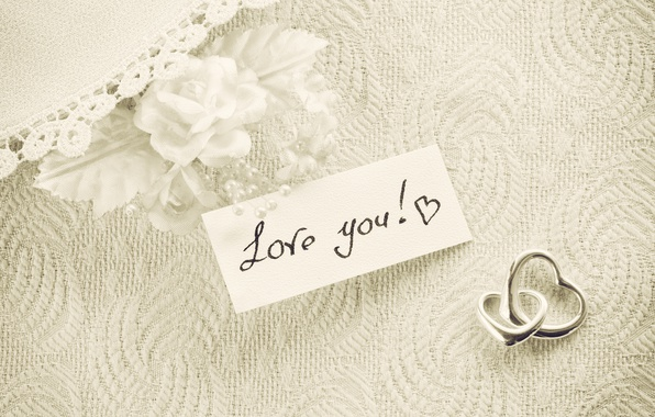 Picture hearts, white, vintage, I love you, romantic, hearts, gift, roses