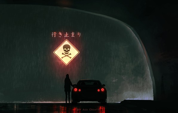 Picture girl, night, rain, sign, skull