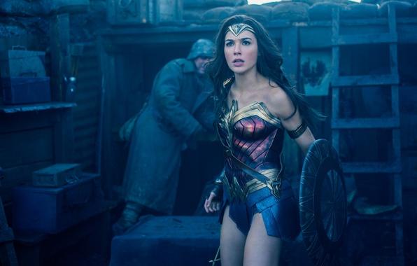 Picture cinema, girl, Wonder Woman, demigod, armor, woman, movie, brunette, hero, film, shield, god, yuusha, Gal …