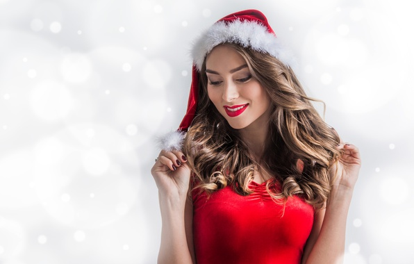 Picture winter, snowflakes, smile, hat, new year, Christmas, makeup, dress, hairstyle, white background, maiden, brown hair, …
