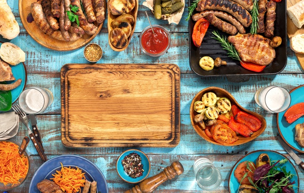 Picture beer, meat, BBQ, vegetables, wood, meat, grill, grilled