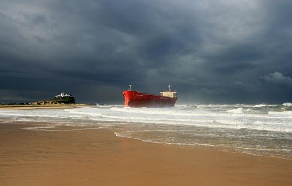 Land Rover Palm Beach >> Wallpaper waves, storm, beach, ocean, seascape, seaside, ship, lighthouse, cloudy, troubled sea ...