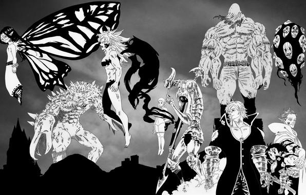 Picture anime, characters, Nanatsu no Taizai, The seven deadly sins, monochrome