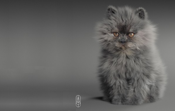 Picture cat, baby, art, kitty, pussy, Rendering, Little Devil, Anton Osipkov