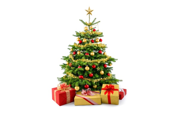 Picture holiday, balls, toys, star, gifts, white background, New year, tree, tinsel, green, ribbons, box