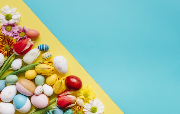 Picture background, holiday, eggs, Easter, tulips