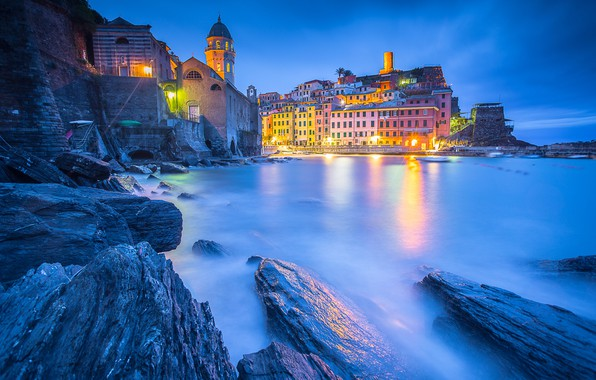 Photo wallpaper harbour, Ligurian Sea, Vernazza, Liguria, Liguria, Cinque Terre, The Ligurian sea, home, Church, Italy, Italy, ...