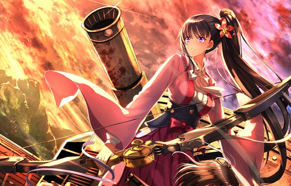 Picture zombie, weapon, anime, bow, manga, kimono, arrow, bishojo, cannon, Attack on Titan, japonese, Koutetsujou no …