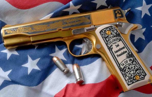Picture gun, weapons, gun, golden, gold, weapon, engraving, custom, custom, M1911, M1911 pistol, engraving, American Flag, …