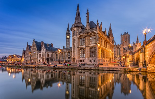 Picture city, lights, twilight, river, sunset, evening, people, Belgium, reflection, architecture, building, towers, church, spiers, bell …