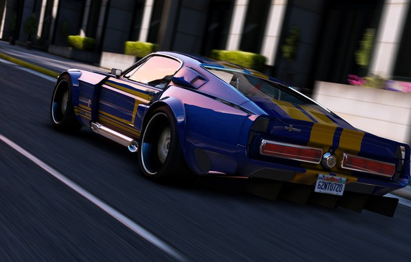 Picture road, speed, Mustang, car, Grand Theft Auto V, Rockstar Games, GTA V.