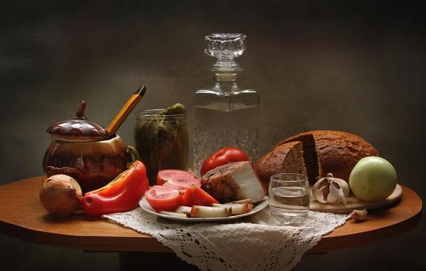 Picture bow, bread, still life, vodka, tomato, cucumbers, garlic, appetizer, fat