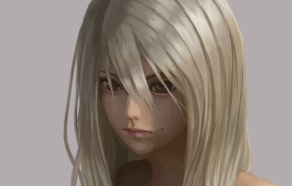 Picture face, blonde, mole, grey background, art, brown eyes, bangs, portrait of a girl, Keita Kobayashi