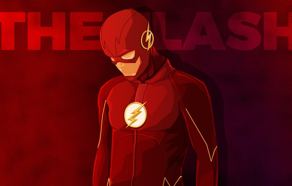 Picture red, background, fiction, the inscription, vector, costume, superhero, comic, Flash, The Flash, Barry Allen