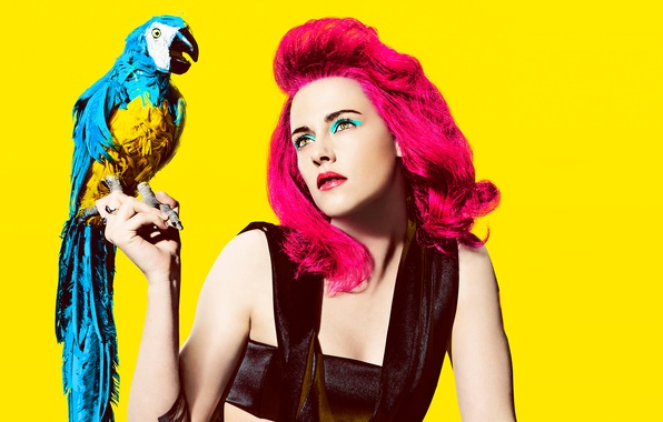 Picture yellow, background, bird, hair, portrait, makeup, actress, hairstyle, parrot, outfit, Kristen Stewart, Kristen Stewart, photoshoot, …