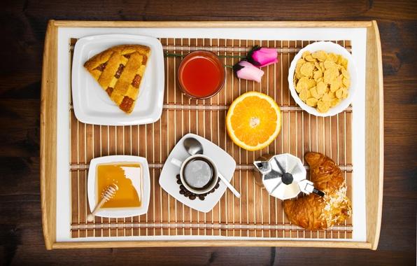 Picture coffee, orange, Breakfast, honey, pie, croissant