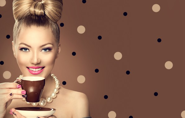 Picture girl, smile, style, model, coffee, makeup, hairstyle, beads