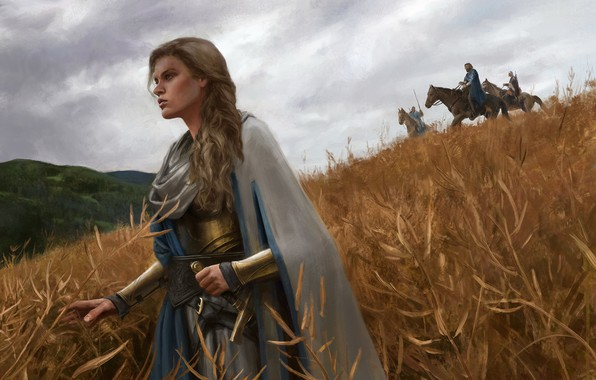Picture forest, the sky, girl, weapons, horse, Field, sword, armor, warrior, Gal Or