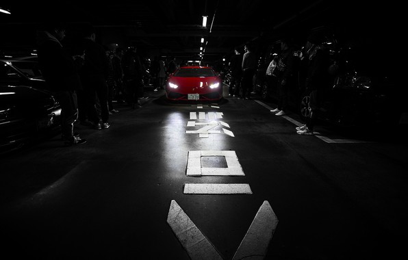Picture black & white, Lamborghini, red, tokyo, Huracan, people