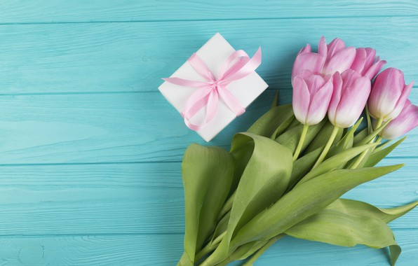 Picture flowers, gift, bouquet, tulips, pink