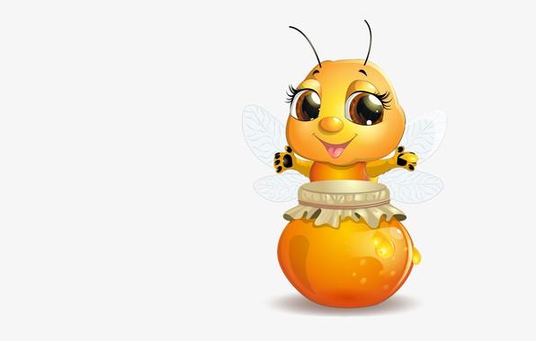 Picture mood, art, pot, bee, honey, children's, hostess