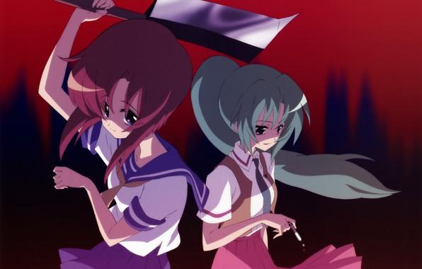 Picture blade, cigarette, Schoolgirls, Higurashi no Naku Koro ni, killer, cleaver, When the cicadas cry, Mion …