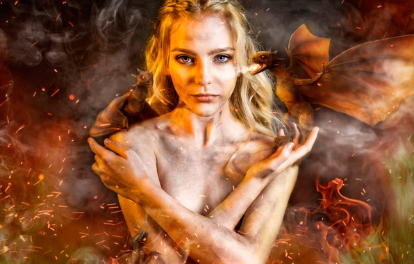 Wallpaper Girl, Dragons, Game Of Thrones, Khaleesi