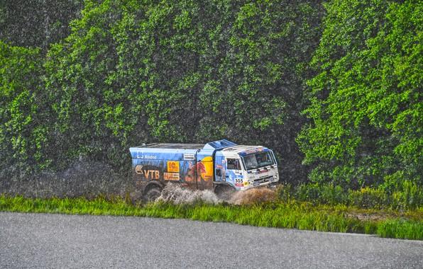 Picture Water, Nature, Trees, Sport, Speed, Rain, Race, Master, Dirt, Squirt, Russia, Kamaz, Rally, Rally, KAMAZ, …