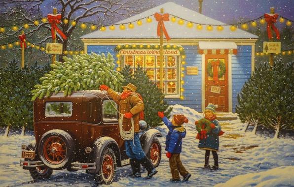 Picture machine, snow, holiday, tree, Christmas, family, garland, John Sloane