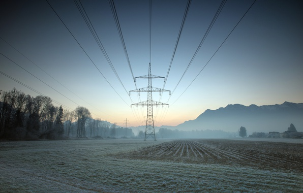 Picture field, fog, morning, power lines