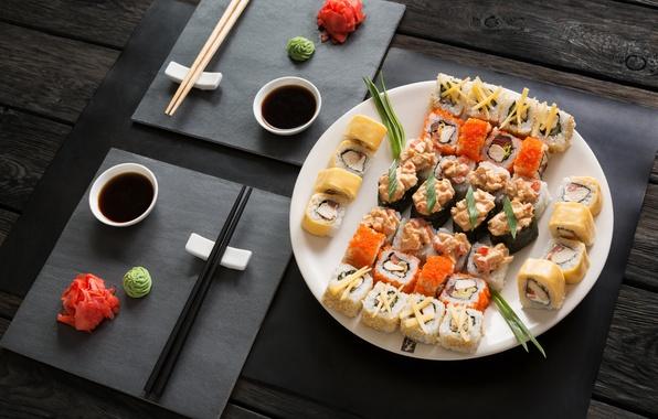 Picture sticks, sauce, sushi, sushi, rolls, ginger, set, wasabi, japanese food
