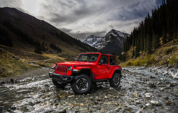 Picture landscape, mountains, red, river, 2018, Jeep, Wrangler Rubicon