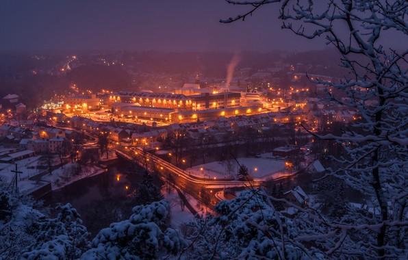 Picture winter, trees, bridge, river, building, Germany, panorama, night city, Germany, Saxony, Saxony, Waldheim, Zschopau River, …