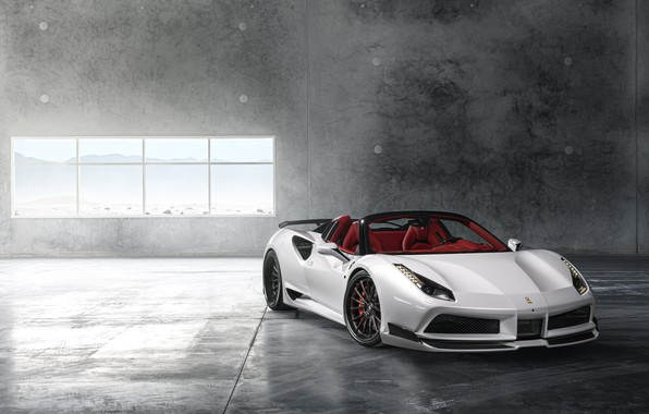 Picture Ferrari, Front, White, Supercar, Wide, 488, Rearl
