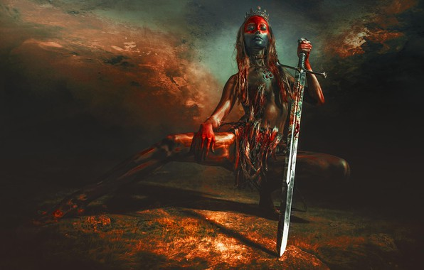 Picture girl, pose, background, sword, feathers, crown, Diadema, paint, RED SKY OVER UTAH