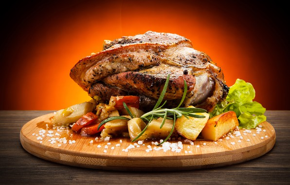 Picture meat, Board, vegetables, spices, potatoes