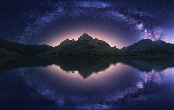 Picture the sky, water, stars, mountains, night, reflection, the milky way