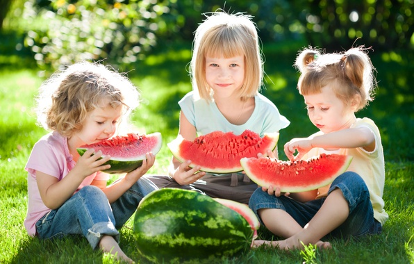 Picture summer, grass, the sun, joy, children, stay, girls, watermelon, summer, friends, beautiful, sun, children, Little …