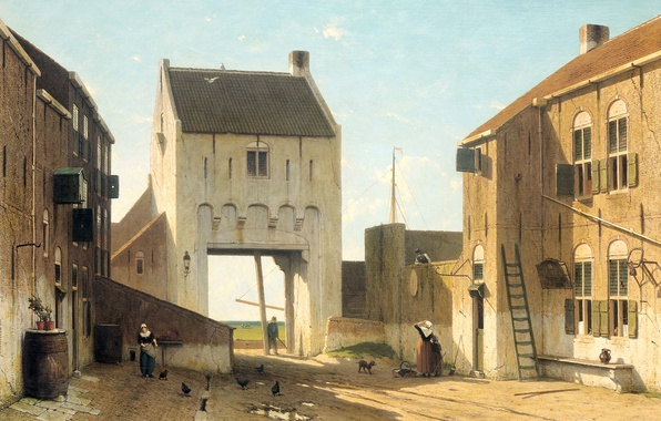 Picture oil, picture, canvas, the urban landscape, City Gate in Leerdam, Ian Weissenbruch