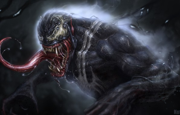 Picture language, art, Marvel, drool, Marvel Comics, Venom, Eddie Brock